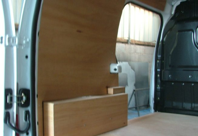 Before LINE-X coloured van liner