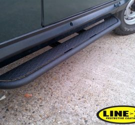 Land Rover side steps with line-x