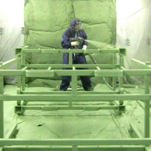 Stillage being sprayed with LINE-X