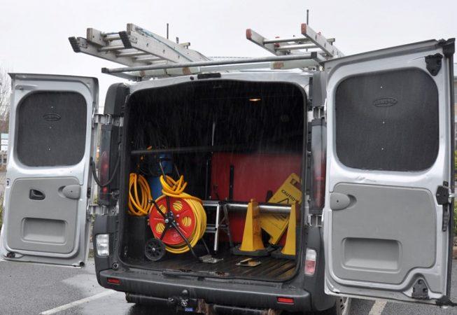 Window Cleaning Van with LINE-X Van Liner