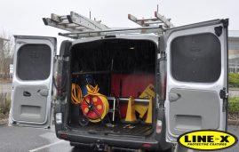 Window cleaning van with LINE-X waterproof seal