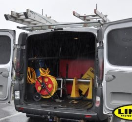 Window cleaning van with LINE-X waterproof seal
