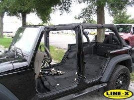 full LINE-X inside Jeep