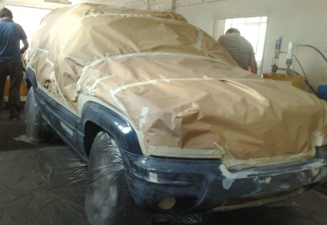 Jeep masked for LINE-X coating
