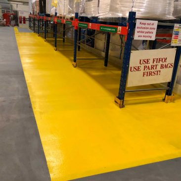 LINE-X Floor Coating With PU Top Coat